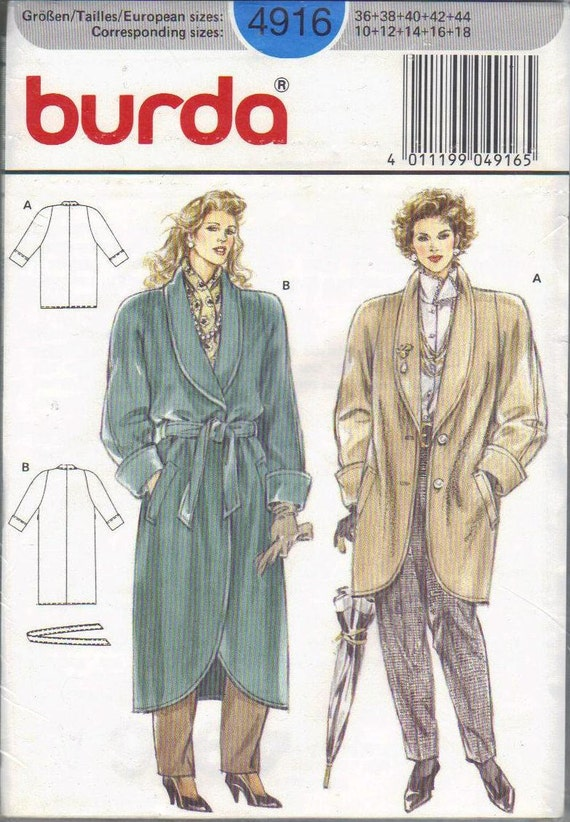 Burda Sewing Pattern 1980s Winter Coat Long Or Hip Length Wide Etsy