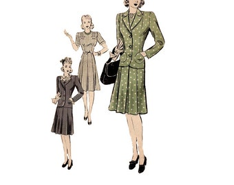 1940s Fashion One Piece Dress Jacket  Hollywood Sewing Pattern 628 Depression Era Frock Housedress Tailored Coat Uncut FF Bust 32