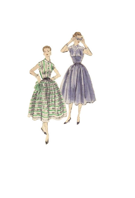 Vogue 7689 Sewing Pattern 1950s Swing Dress Full Circle Skirt Etsy