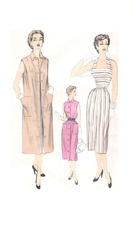 1950s Sewing Pattern Advance 6727 Halter Neck Wiggle Dress | Etsy