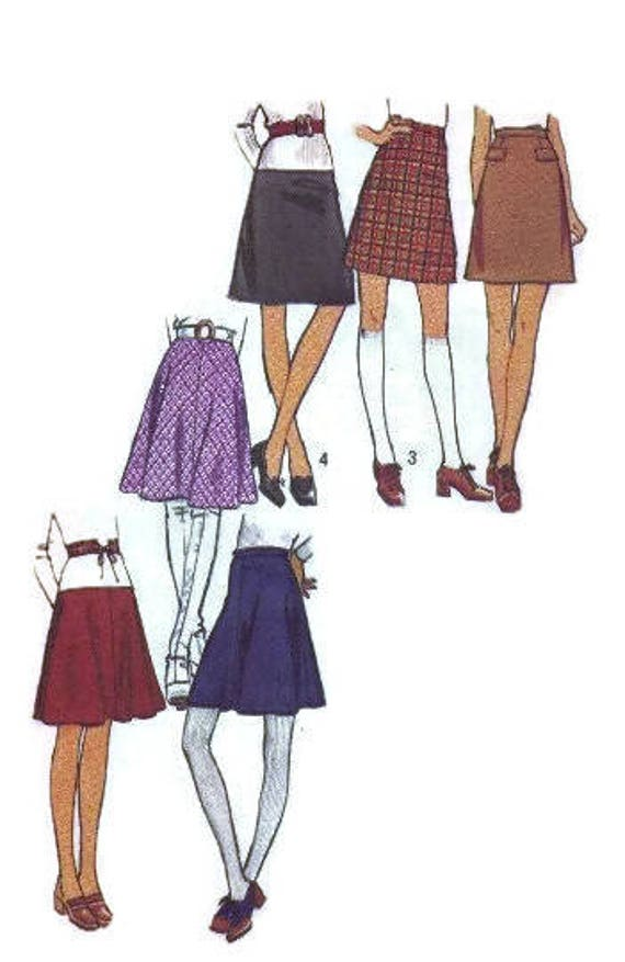 Simplicity 70s Sewing Pattern Retro Style Mini Skirt Easy To Etsy