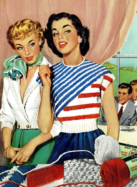 1950er Jahre Vintage Retro Mode Pullover Stricken Häkeln Etsy