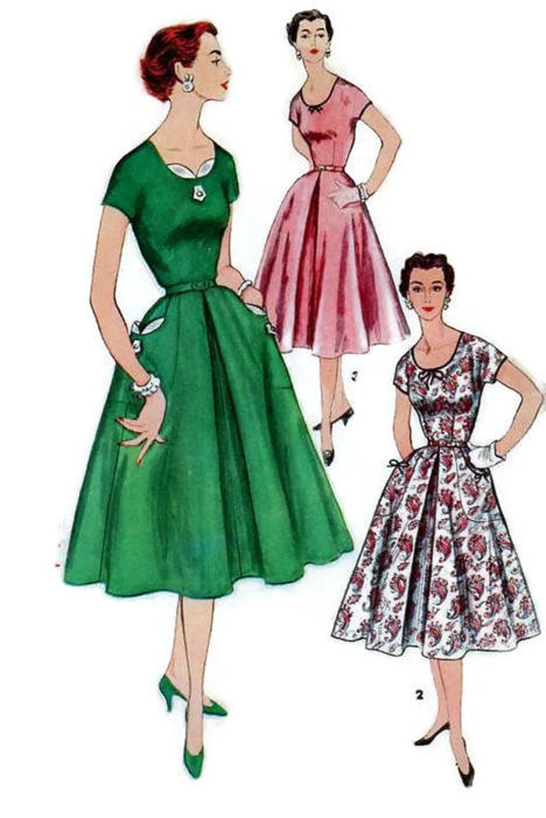 f72db7da25d Simplicity Vintage 1950s Sewing Pattern 1080 Rockabilly Swing