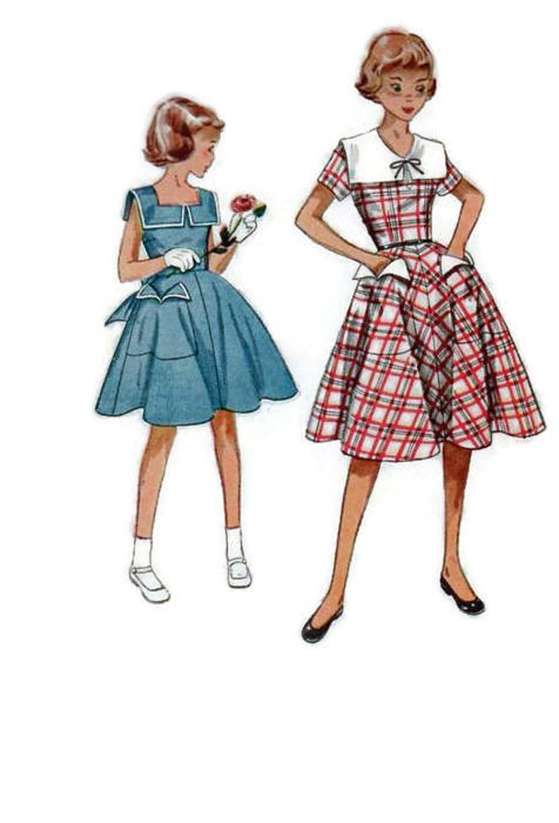 Simplicity 1950s Sewing Pattern Girl S Teen Dress Etsy