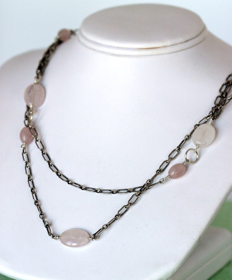double strand sterling silver necklace pink stone layering necklace handmade by girlthree rose quartz semi precious stones