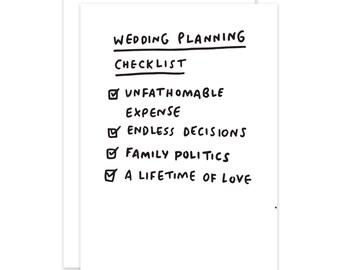 Wedding Planning Checklist Funny Card