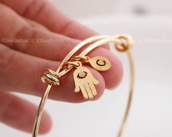 Hamsa bracelet, Personalized bracelet, initial bracelet,Leaf initial, Personalized bangle, BFF, Friendship bracelet, christmas gift