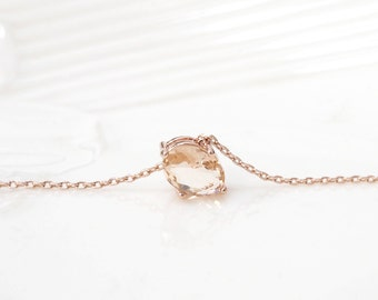 Champagne necklace, Bridesmaid Gift, rose gold necklace, long necklace,  peach necklace