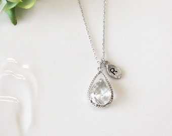 Initial necklace, Leaf initial, Clear crystal drop necklace, Gorgeous Drop,stone in twisted bezel