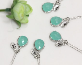 4 Set Bridesmaid gifts- Leaf initial, Mint crystal drop necklace, Gorgeous Drop ,stone in twisted bezel, Initial necklace