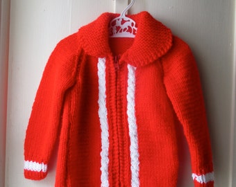 1970s bright red handknit sweater / Vintage red & white cableknit sweater jacket / Vintage knit jumper / toddler size 6 to 12 months