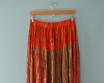 Vintage boho maxi skirt /broomstick skirt w/ silver/festival red & taupe dyed skirt/Indian cotton gauze hippie skirt / Small to Medium