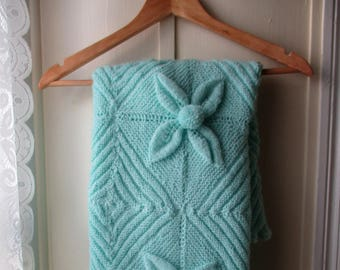 Vintage minty green baby coverlet/ handknit baby blanket with pompom flowers / 1970s Baby coverlet /hand knit afghan