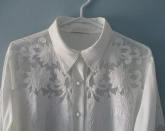 1980's White Blouse with cut out floral, swirl pattern / Elegant button up blouse with sheer cutouts / Size medium to large