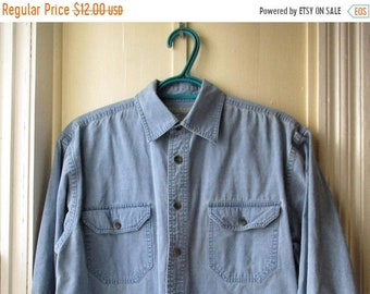 ON SALE Men's Vintage Faded Jean Shirt / Distressed Soft Cotton Jean Shirt / WindRiver Outfitting Co. Shirt / Size Small