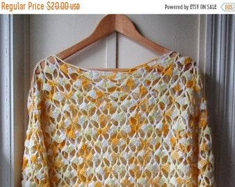 ON SALE Vintage Sunshine Yellow & White Crochet Midi Dress / festival dress / boho crochet coverup / size medium