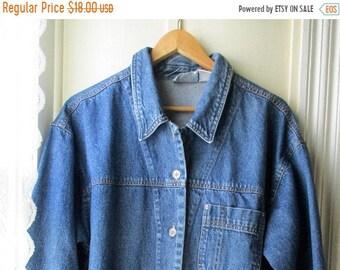 ON SALE Women's Vintage Nevada Jeanswear Ranch Style Jean Jacket / Blue Denim Mid-length Jacket  / Size 14