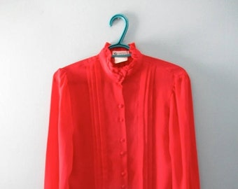 ON SALE Vintage Red Sheer Secretary Blouse / 1980s Tuxedo Blouse / High Collared Blouse / Size Small