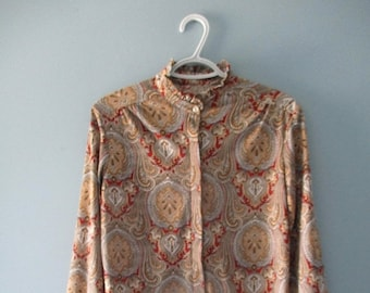 ON SALE Vintage Paisley High Collar Ruffle Blouse /Vintage polyester blouse / Ladies Size Small