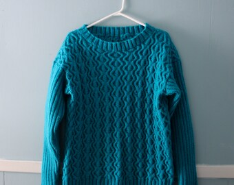 7f86054fe9 Vintage handknit cableknit sweater   turquoise chunky knit sweater   size  medium