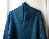 Vintage heather green shawl collar sweater oversized cozy wool wrap collar sweater by Cricketeer Unisex size small