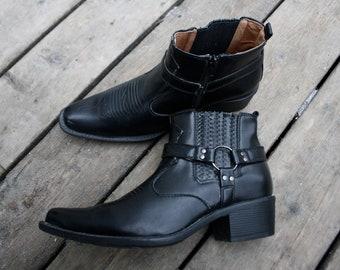 2d94b6f0de7 Bottes pour hommes Vintage noir cheville Western bottines en faux cuir  Vegan   cheville moto boos   taille 8 hommes