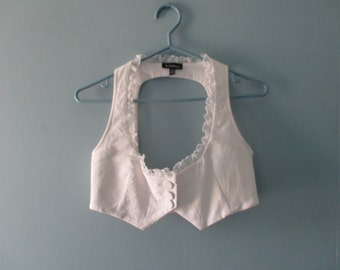 Vintage White Tuxedo Halter Top / 90's Backless Crop Top / Vintage  Bustier with Ruffles / Size Small
