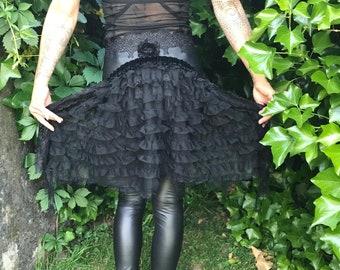 Size XS/S Bustle Skirt Goth Skirt Burlesque Belt Circus Overskirt Costume Lace Belt Leather Skirt Halloween