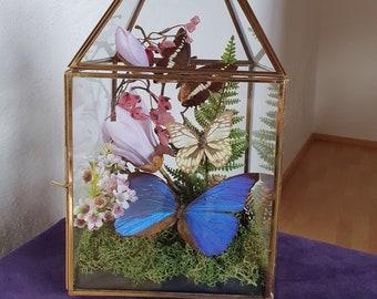 Butterfly Glass Lantern Gold