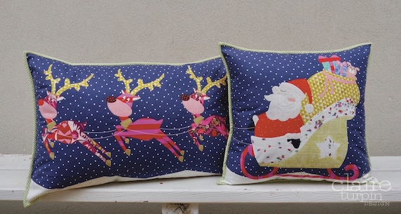 Santa Dash applique cushion set PDF pattern