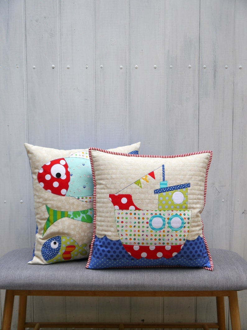 Fishiness Applique Cushion Patterns Pdf Instant Download Etsy