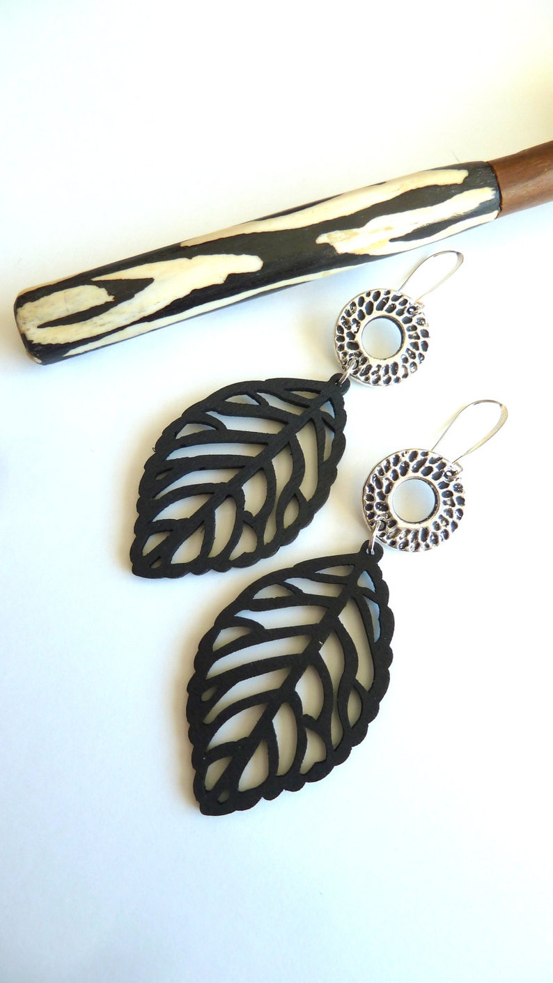 d984242a026df Earrings, Large Black Wooden Leaf Earrings, Lightweight Modern Earrings,  Gift for her, All Season Black Earrings, Black Leaf Dangle Earrings