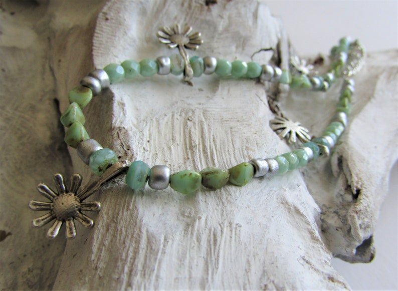 Mint Glass and Antique Silver Ankle Bracelet Anklet