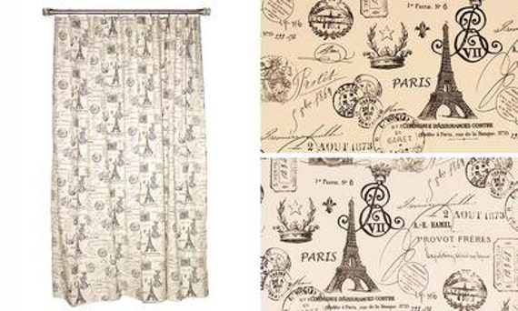 France Script Shower Curtain In Natural Or White Duck