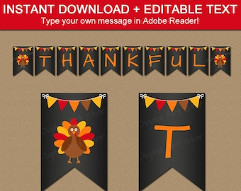 Thanksgiving Chalkboard Banner Template, Thanksgiving Party Decorations, Printable Banner Thanksgiving, Chalk Board Banner, Editable Banner