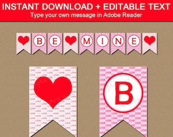 Valentines Day Decor, Valentines Day Photo Prop, Valentine Banner, Printable Banner, Home Decor Printables, Love Banner, Be Mine Banner V8