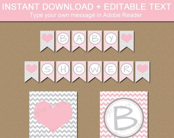 Pink and Grey Baby Shower Banner - Girl Baby Shower Banner - Baby Shower Decorations Girl - Pink Gray Bridal Shower Banner Template BB1