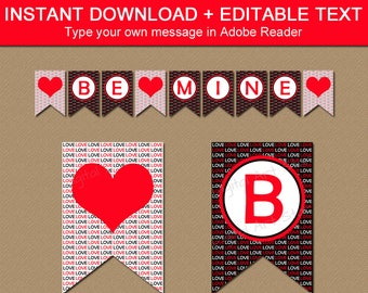 Valentines Banner Printable, Valentine Decorations, Love Banner, Heart Banner, Wedding Banner, Bridal Shower Banner, Anniversary Banner V8