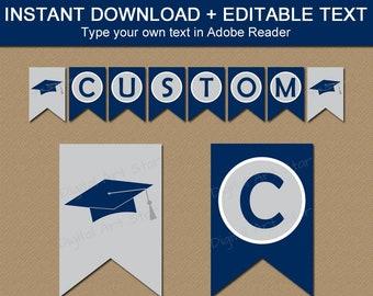 Printable Graduation Banner 2021, Navy Silver Graduation Party Decorations, Downloadable Graduation Banner Template, Editable Banner G1