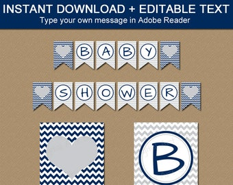 Boy Party Decorations, Baby Boy Decorations, Navy Grey Chevron Downloadable Party Banner, Gray Chevron Banner, Instant Download Banner BB1