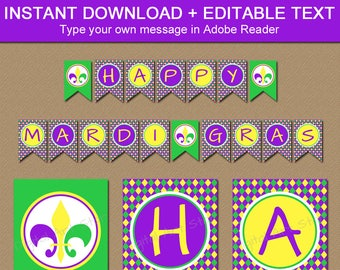Mardi Gras Banner, Mardi Gras Party Decor, Baby Shower Banner, Mardi Gras Birthday Banner, Photo Prop, Instant Download EDITABLE Banner M1