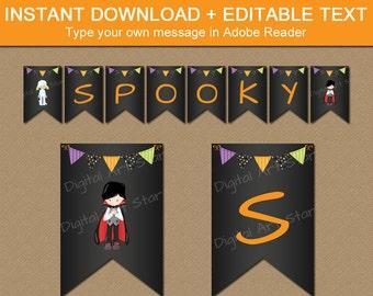 INSTANT DOWNLOAD Kids Halloween Banner - Happy Halloween Banner - Editable Halloween Download - Halloween Printables Halloween Supplies HCBK