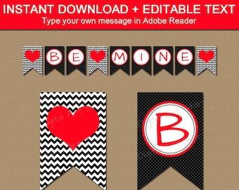 DIY Valentines Banner, Printable Valentines Day Banner Template, Valentine Party Decorations, EDITABLE Banner, Black and Red Heart Banner V1