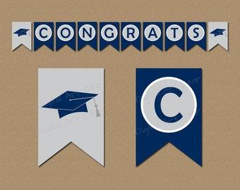 Congratulations Graduation Banner - 2021 Graduation Decorations - Congrats Banner Printable Navy Blue and Gray - Instant Download Banner G1