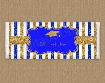 Royal Blue and Gold Graduation Candy Bar Wrapper Printable - Elegant Graduation Favors - Chocolate Bar Wrapper for Graduation 2021 G9