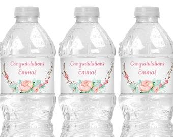 Floral Graduation Water Bottle Labels Download - Girl Graduation Party Decorations - Rustic Graduation Decorations 2021 - Editable Template