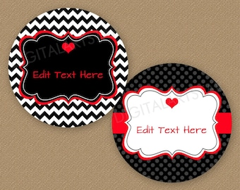 Black and Red Valentine Favor Stickers - Round Favor Label Template - Valentine Bag Labels Printable - Valentines Day Tags Editable V1