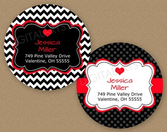 Printable Valentines Day Return Address Labels - 2 Inch Round Stickers - Black and Red Valentine Address Label Template Editable Labels V1