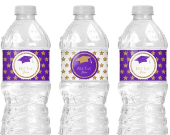 Purple and Gold Graduation Water Bottle Labels, Purple Graduation Decorations, Water Bottle Stickers Instant Download, Water Bottle Wrap G10