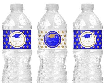 Royal Blue Graduation Water Bottle Labels Instant Download, Royal Blue and Gold Graduation Decoration Ideas, Water Bottle Stickers G10
